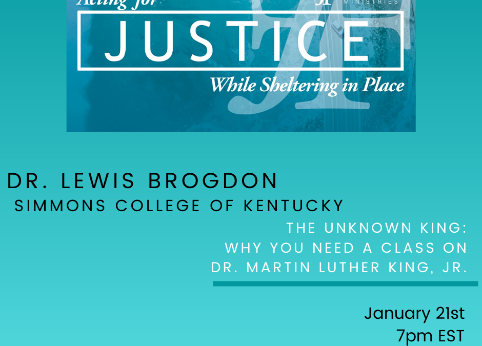Brogdon leads webinar with JustFaith Ministries in partnership with Simmons College of Kentucky