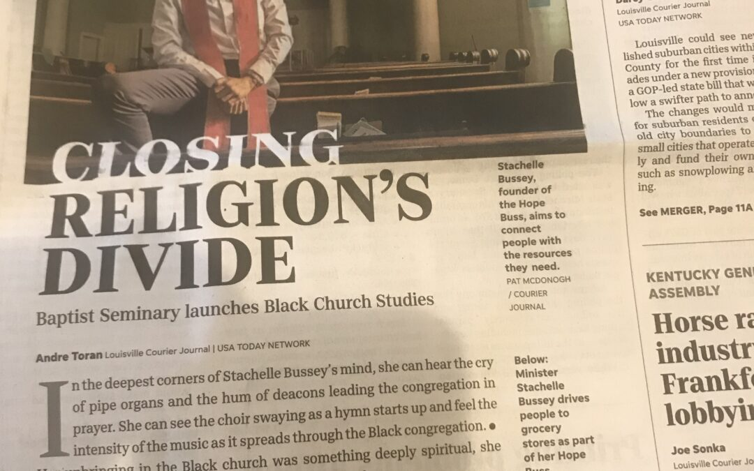 BSK's New Institute for Black Church Studies is Front Page News for Louisville's Courier-Journal